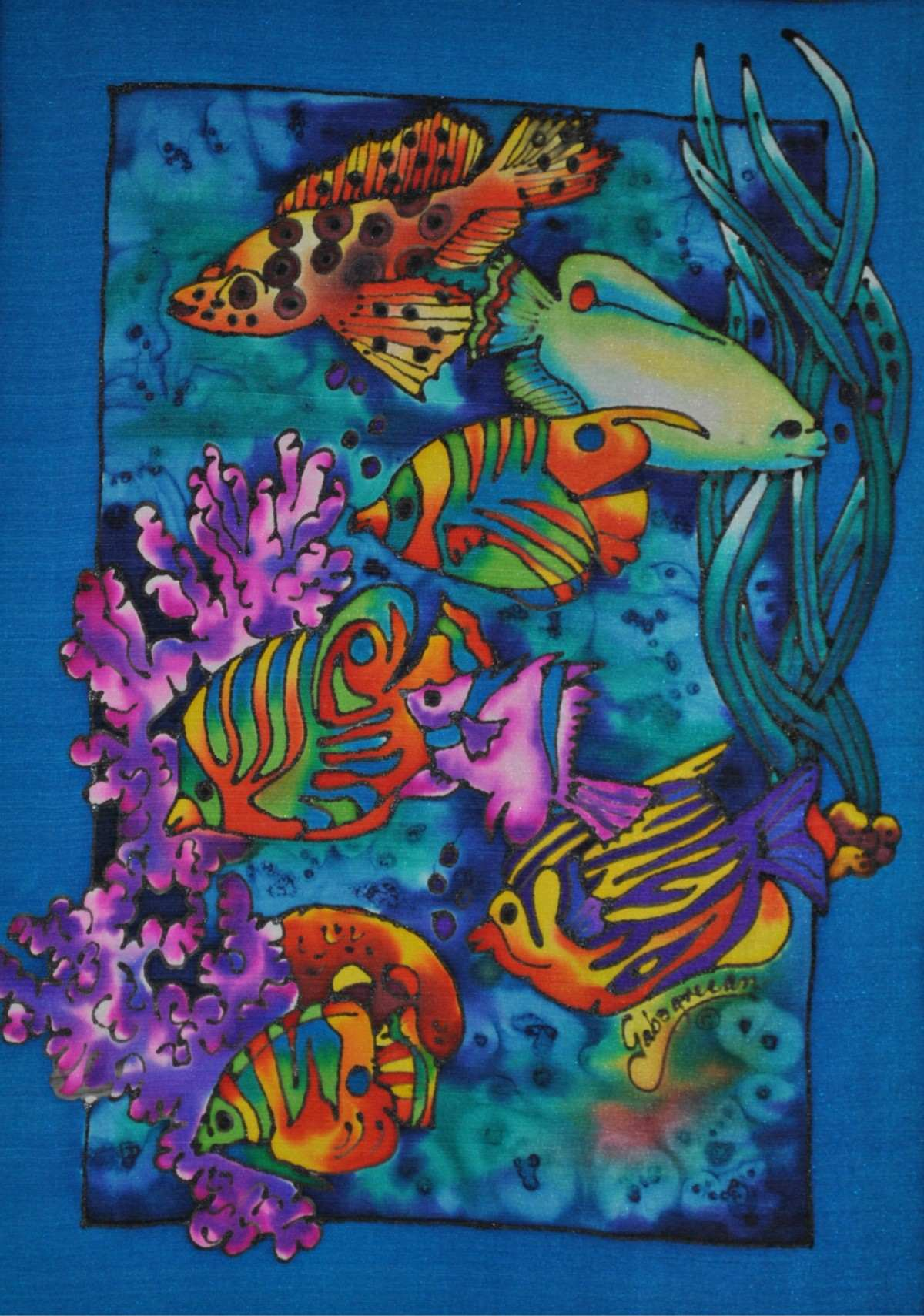 Art gallery sea life silk painting by gabogrecan for Sea life paintings artists