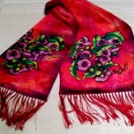 Tasseled scarf (Flowering Gum) commissioned for overseas gift