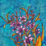 Decorative, detailed painting of Cook Town Orchids on silk